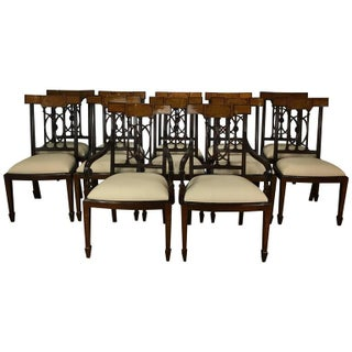 Georgian Style Inlaid Dining Chairs - Set of 12