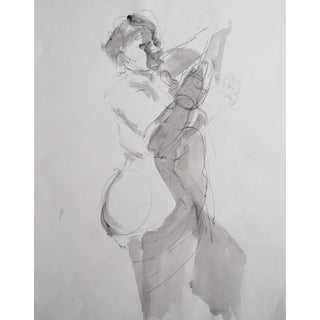 Vintage Figurative Female Drawing