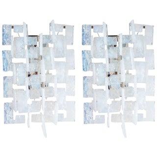 Mid-Century Modernist Iridescent Interlocking Sconces By Mazzega