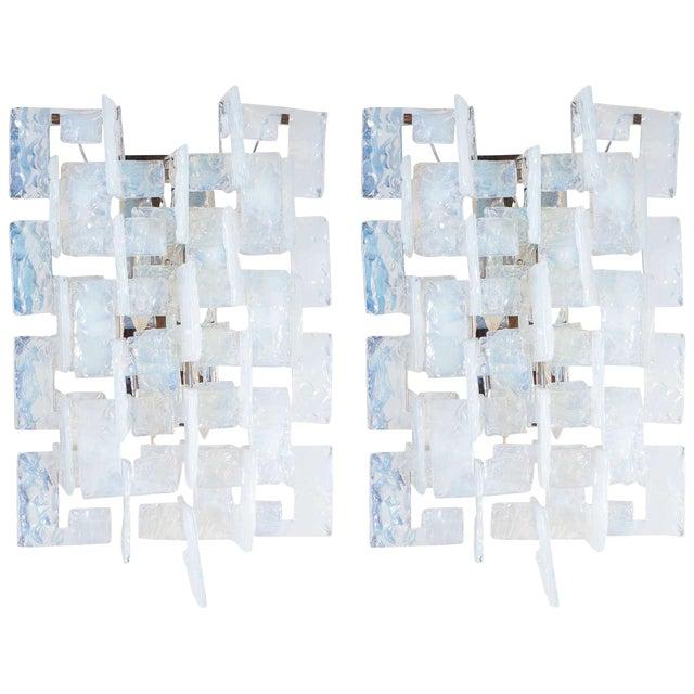 Mid-Century Modernist Iridescent Interlocking Sconces By Mazzega - Image 1 of 7