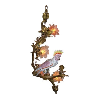 Late 19th C Italian Bronze Chandelier with Porcelain Cockatoo Bird