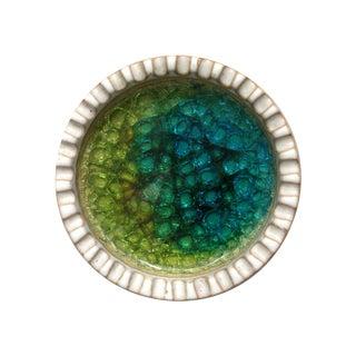 Ceramic Teal Crackle Glaze Dish