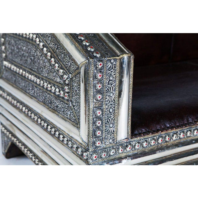 Silver Metal and Leather Royal Moroccan Loveseat - Image 4 of 4