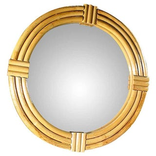 1940s Three-Strand Round Rattan Mirror