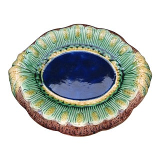 Victorian Majolica Cobalt Blue wheat Themed Bread Tray