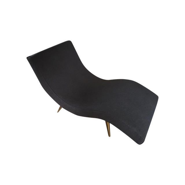 Mid-Century Brass Legged Chaise - Image 1 of 5