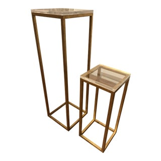 Modern Gold Leaf Pedestal Tables - A Pair