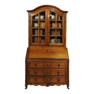 18th Century French Louis XV Carved Walnut Folding Top Secretary Bookcase