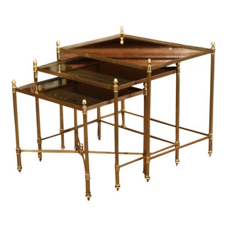 Early 20th Century French Brass and Églomisé Nesting Tables - Set of 3