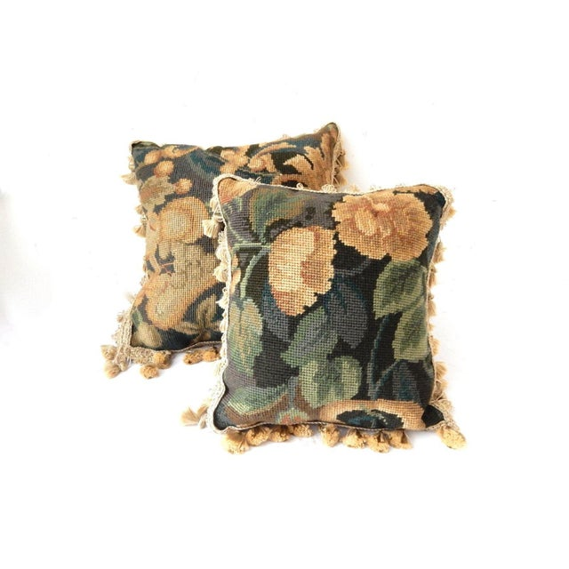 French Square Verdure Petit Point Pillows - a Pair - Image 8 of 8