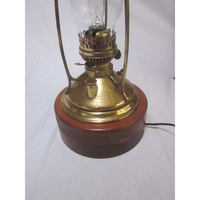 Antique Wired Brass Wood Hurricane Lamp - Image 5 of 9