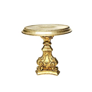 Hollywood Regency Gold Painted Wooden Pedestal Side Table