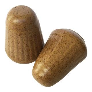Vintage Mid-Century Modern Brown Ceramic Salt & Pepper Shakers - A Pair