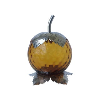 Italian Murano & Silverplate Lidded Jam Jar