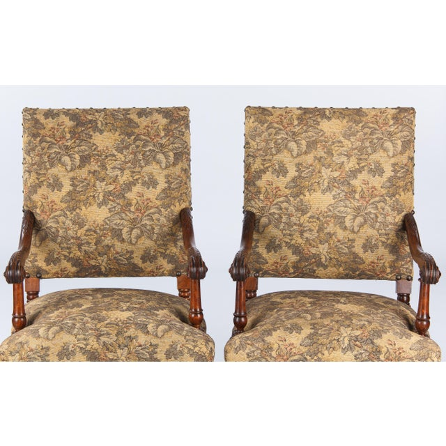 1860's French Louis XIII Style Armchairs - Pair - Image 7 of 10