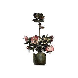 1970s Garland Faulkner Floral Tole Chandelier