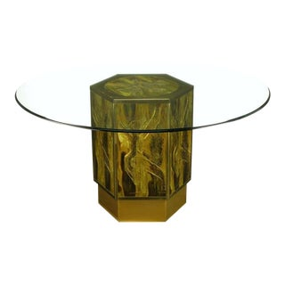 Bernhard Rohne For Mastercraft Acid Etched Brass Hexagonal Pedestal Table
