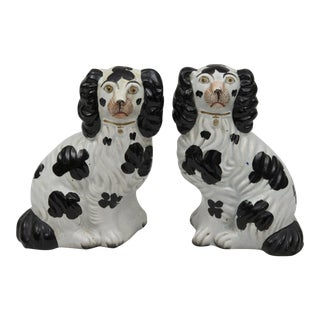 Pair Staffordshire Black & White Dogs