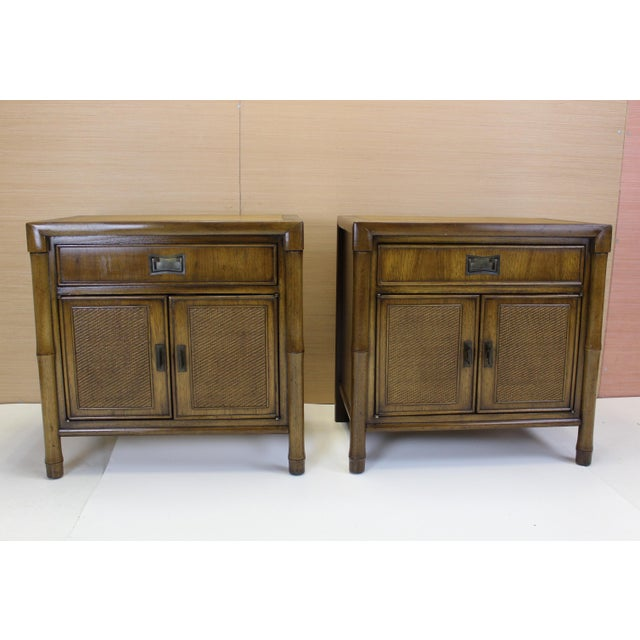 Mid-Century Campaign Style Nightstands - A Pair - Image 9 of 10