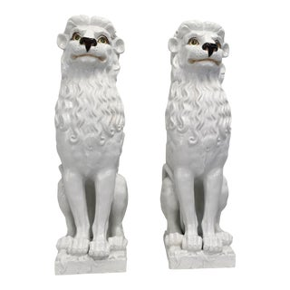 White Italian Ceramic Lions - A Pair