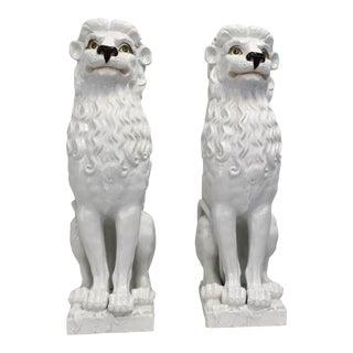 White Italian Ceramic Lions - A Pair