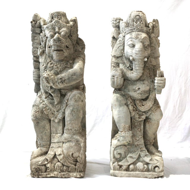 Antique Carved Sandstone Hindu Deities - A Pair - Image 2 of 7