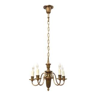 Small Five Light Brass Chandelier