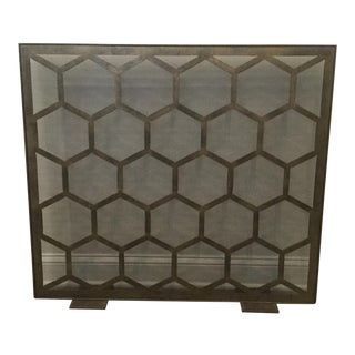 Burnished Gold Finish Metal Firescreen