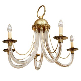 CHARLES HOLLIS JONES STYLE LUCITE AND BRASS CHANDELIER