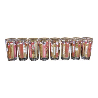 Mid-Century Modern Red and Gold Highball Glasses - Set of 8