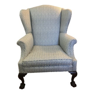 Blue Chintz Fabric Wingback Chair