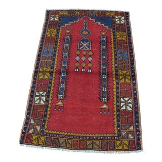 Turkish Anatolian Handwoven Vintage Oushak Wool Rug - 2′5″ × 4′3″