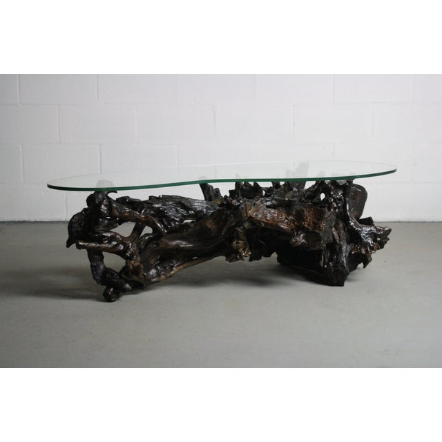 Driftwood Coffee Table With Rectangular Glass Top: 70s Driftwood Coffee Table Kidney Shaped Glass Top