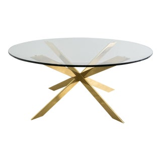Double X-Round Brass Coffee Table by Pace Collection