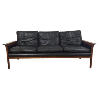 Hans Olsen for Mobler Vintage Black Leather Sofa