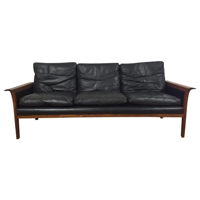 the a list hans olsen for mobler vintage black leather sofa $ 2700