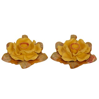 California Pottery Floral Candleholders