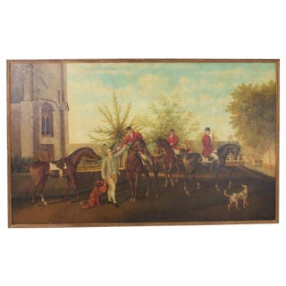 Large Oil on Canvas Hunt Party Scene by William Skilling