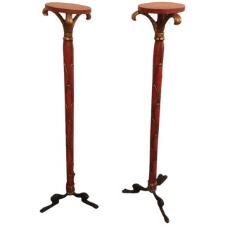 Hollywood Regency Style Pedestals On Ebony Claw Feet - a Pair