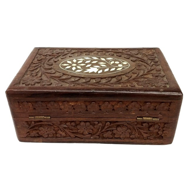 Vintage Sandalwood Carved Trinket Box India - Image 6 of 8