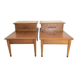 Mid-Century Two Tier Wood End Tables - A Pair