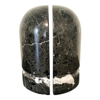 Mid-Century Black & White Marbled Bookends - A Pair