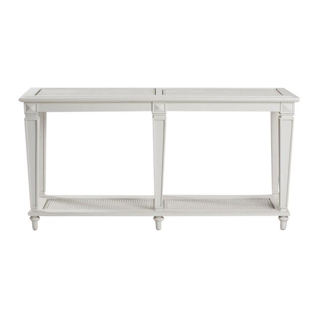 Image of New White Caned Console Table