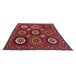 Red Handmade Suzani Tablecloth