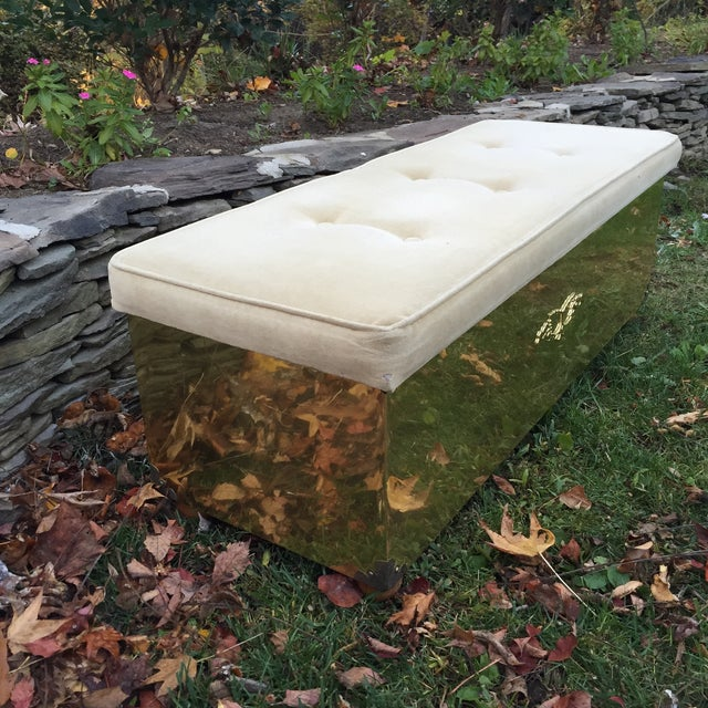 Vintage Tufted Brass Cedar Lined Chest Bench - Image 7 of 11