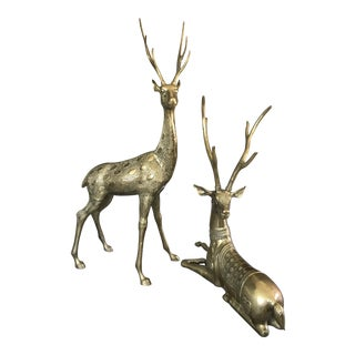 Life-Sized Brass Deer Statues - A Pair