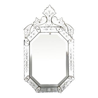 Vintage Eight-Sided Italian Venetian Mirror With Crest