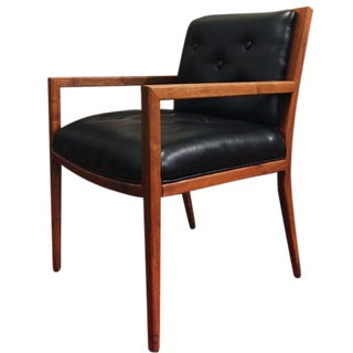 Mid-Century Chair in Tufted Black Leather