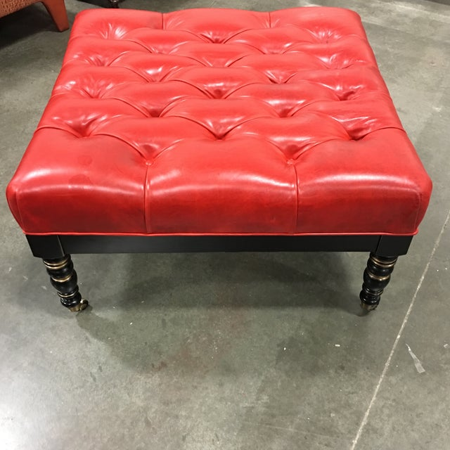 Red Leather Ottoman With Casters - Image 4 of 6