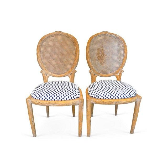 Vintage Faux Bois & Cane Dining Chairs - Set of 4 - Image 1 of 6